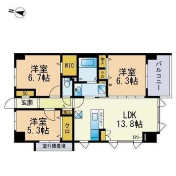 3〜4人家族でゆったり暮らしたい3LDKのお部屋です。