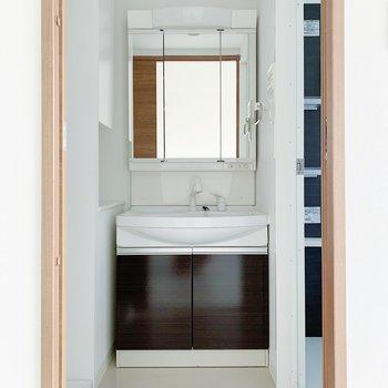 サニタリーもリビングと扉で仕切れますよ!開けたらまず独立洗面台。