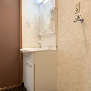 独立洗面台と洗濯機置き場は隣り合わせです。
