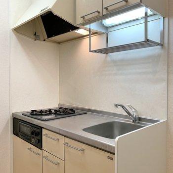 キッチンは上下に調理器具がたっぷり入りそう。