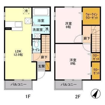 1階に水回りとLDK、2階に6帖と8帖の2部屋があります。全部屋が2面採光です。