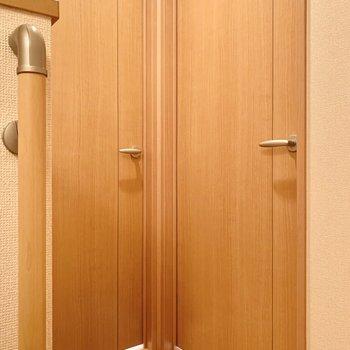 階段を上がるとそこにはドアが。まずは約6帖の洋室から見ていきます。