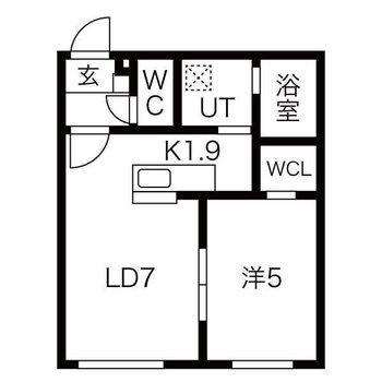 2人暮らしも快適に。1LDKのお部屋です。