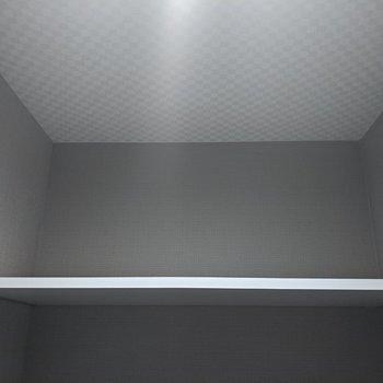 トイレは棚付き。こちらも天井は市松模様。