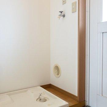 洗濯機置き場は玄関から入ってすぐ右です。