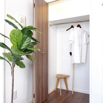 ワイドなクローゼット。衣類がたっぷり収納可能です。
