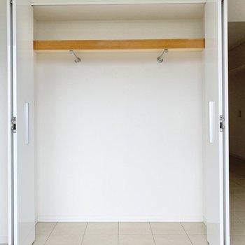 収納は横に長いタイプなので、主にハンガーでかけることになりそう。