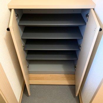 中は1段に2〜3足くらいのサイズ感の可動棚です。