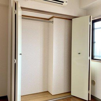 【洋室約5帖】奥行きはあまりないですが、丈の長い洋服が掛けられます。