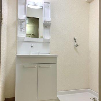 洗面台と洗濯機置き場は隣り合っています。使ったタオルなどをすぐ洗濯できますね。