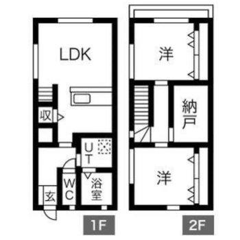 3人家族や、小さなお子さんがふたりいる4人家族にオススメな2階建ての2LDKです。