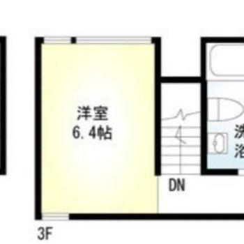 扉はなくても緩く空間が区切られている1LDK。