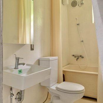 洗面台と洗濯機置き場は同室。匂い対策をするといいですよ。※写真はフラッシュを使用しています