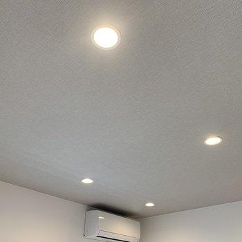居室の天井には素敵なアクセントクロスとライトが