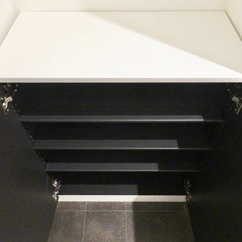 靴箱はドアの左手に。1段3足ほどの棚が4段ある靴箱です。