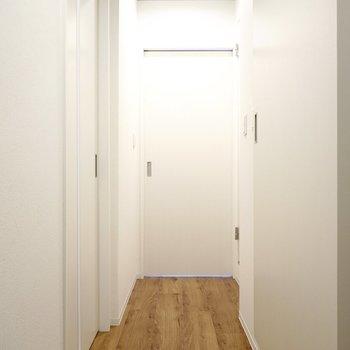 LDKから廊下に出て左側を見たところ。右手にトイレのドアがあり、正面は洋室へのドア。