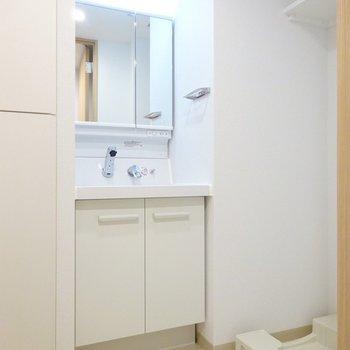 脱衣所に洗面台と洗濯機。