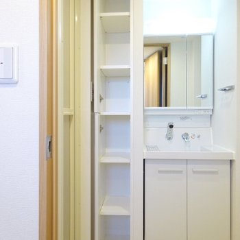 タオルや洗面具が置ける便利収納!