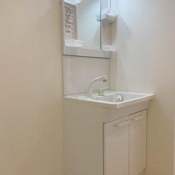 コンパクトな洗面(※写真は3階の同間取り別部屋のものです)