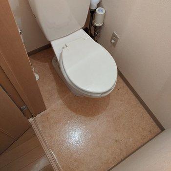 シンプルで使いやすい形をしたトイレです。