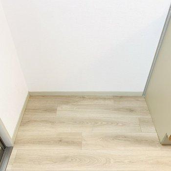 その左側は冷蔵庫置き場。冷蔵庫と隙間収納ができそう。