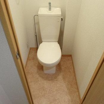 トイレもキレイです!(※写真は3階の同間取り別部屋、清掃前のものです)