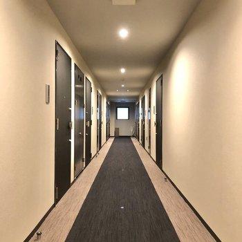 シックでホテルのような雰囲気の廊下。