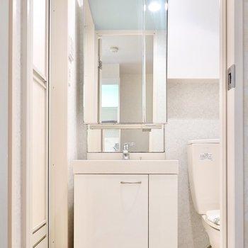 キッチンの背面側には脱衣所。ドアを開けると、ホテルライクな洗面台が…!(※写真は2階の同間取り別部屋のものです)