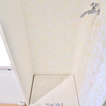 玄関の左手には洗濯機置場。(※写真は2階の同間取り別部屋のものです)