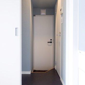 サニタリーを見に行きましょう。正面のドアはベランダに続いています。
