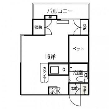 16帖の広々空間。2人暮らしもできそうです。(※写真は収納の位置が一部異なっています)