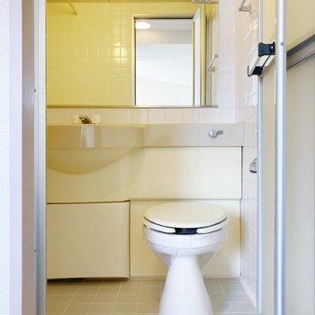 ホテルテイストの3点ユニット!大きな鏡が特徴。