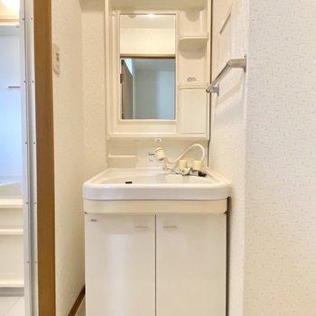 独立洗面台にはよく使うものを収納して朝は時短に!