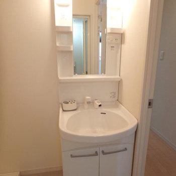 洗面台と洗濯機が並ぶ便利な脱衣スペース。※写真は2階の同間取り別部屋のものです