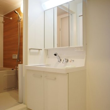 洗面台も大きくて使いやすそう。※写真は1階の同間取り別部屋のものです