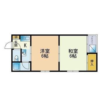 ゆったり暮らせる2Kのお部屋です。