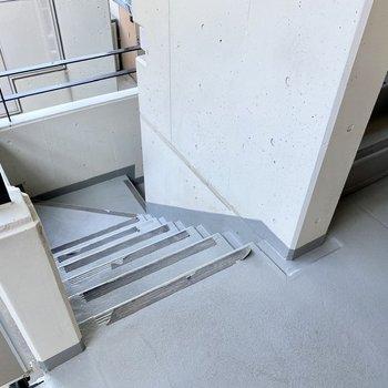 上下移動は階段で。