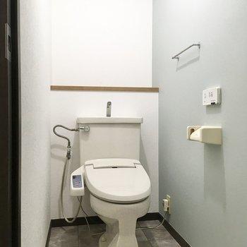 トイレには淡いブルーのアクセントクロスが使用されており、清潔感があります。