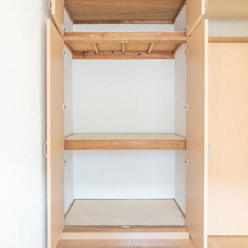 【洋室約5帖】こちらも2段に分かれています。プラスチックケースなどを活用するとより収納力がアップしそうです。
