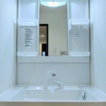 縦長の鏡、棚が4箇所ある独立洗面台。