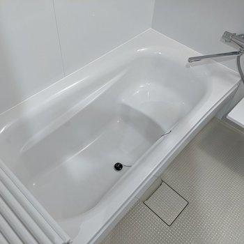 広く、足を伸ばしてゆったりとお湯に入れる浴槽。