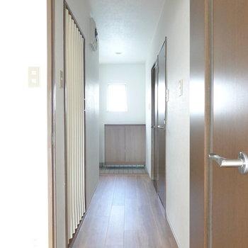 廊下に出て左、アコーディオンカーテンの先が脱衣所。