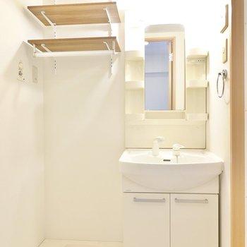 正面に洗面台と洗濯機置き場。洗剤などを置ける棚があるのが嬉しいポイント◎