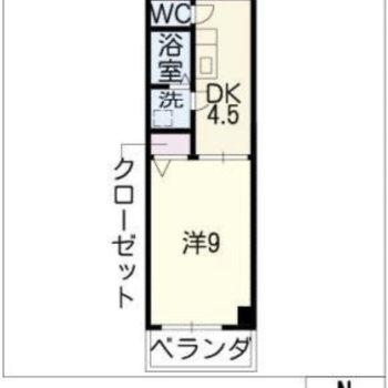 一人暮らし向けの1K。キッチンはDKとしても使える広さです。