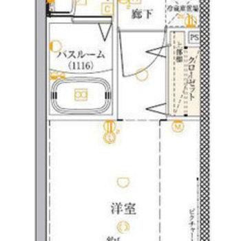 設備がこまかく記載された間取り図。