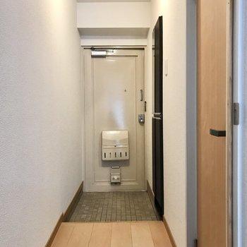 玄関にもキッチンと同じ黒のシューズボックス。小さな鏡が付いてます(※写真は清掃前のものです)