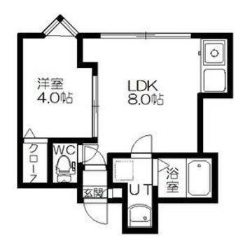 8帖のリビングに4帖の洋室と一人暮らしにちょうどよいサイズ感。