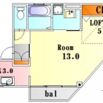 洋室は13帖あるので、広々1人暮らしができそうだな。