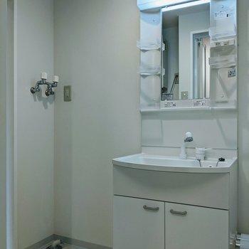 独立洗面台の隣に洗濯機置き場があります。