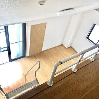 登り降りには十分注意。(※写真は13階の同間取り別部屋のもので、一部仕様が異なります)